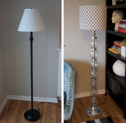 floor lamp before and after--transformed with coke bottles, duct tape and spray paint