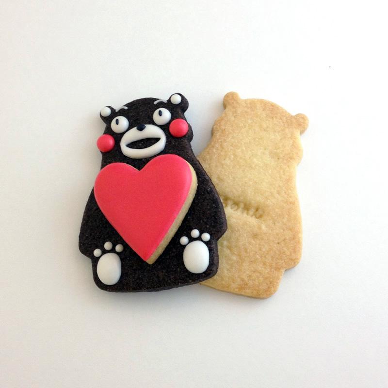 くまモン+ハート+プレーンクッキー