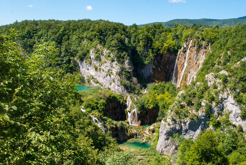 aerial view of a  waterfall at Plitvice Lakes National Park