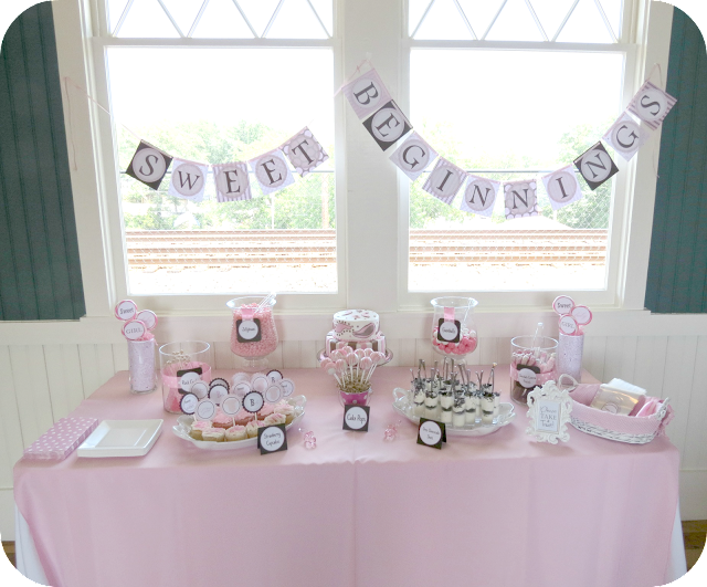 Sweet beginnings baby shower sweets table