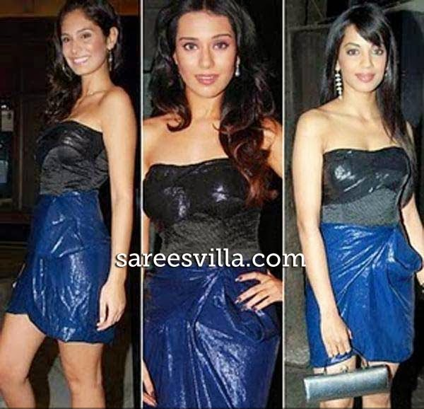 Bruno Abdullah, Amrita Rao, and Mugdha Godse in same dress