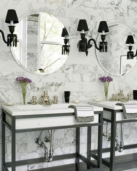 Baños Elegantes Blancos:Black and White Marble Bathroom