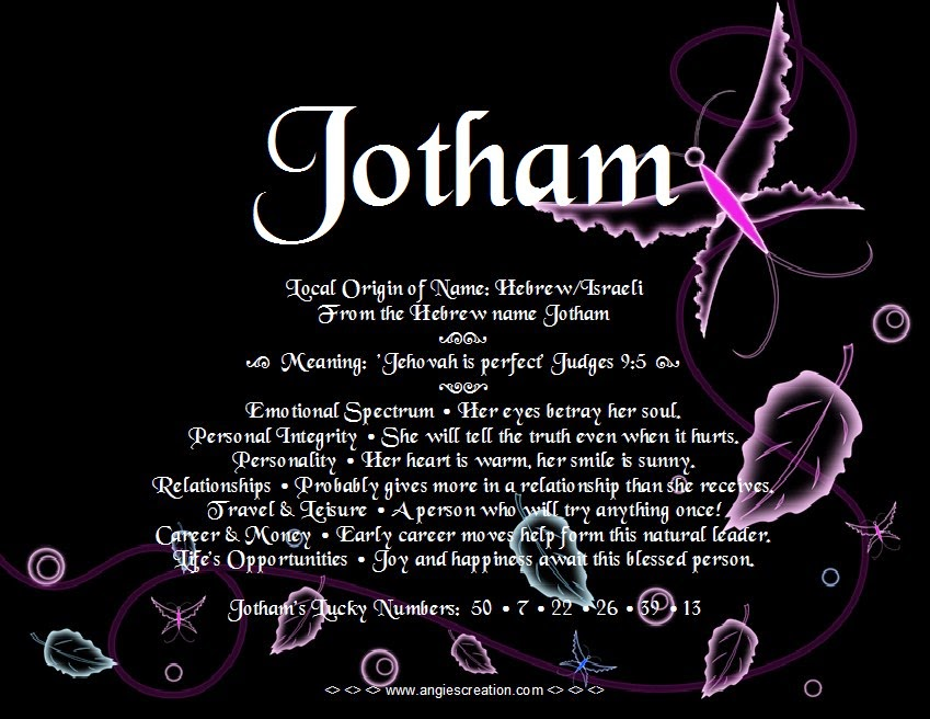 The meaning of the name -  Jotham