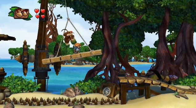 Donkey and Diddy Kong jumping on a platform in a jungle next to the sea in the Wii U game Donkey Kong Country: Tropical Freeze.