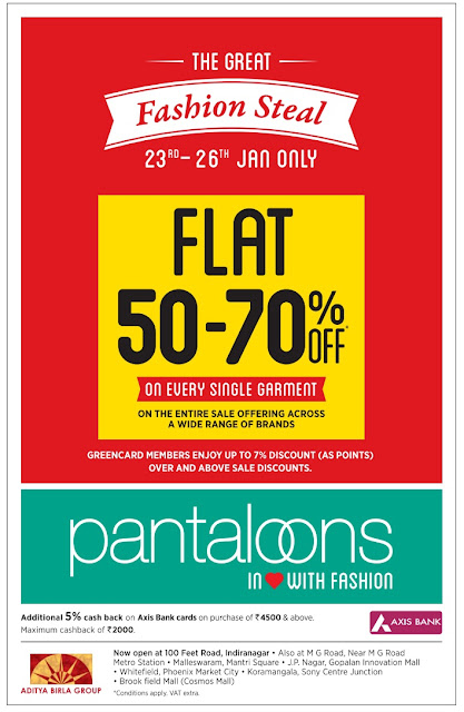 Fashion steal in Pantaloons from 23rd to 26th January only | Flat 50 to 70 % offer