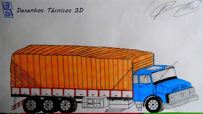 desenhos técnicos 3d caminhão mercedes benz 1113