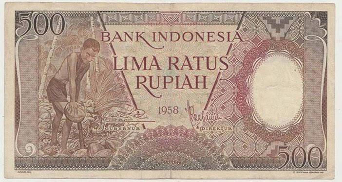 uang kuno Seri pekerja tangan tahun 1958 pecahan 500 rupiah
