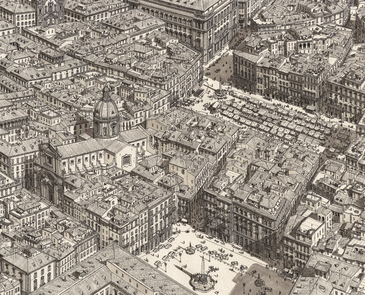 01-Rome-Piazza-Stefan-Bleekrode-Fantasy-in-Detailed-Architectural-Drawings-www-designstack-co