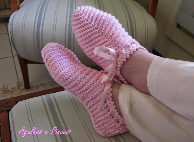 croche com receita pantufas rosa aprender croche dvd loja curso de croche