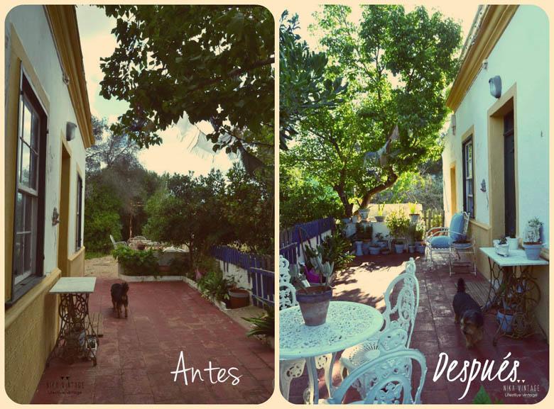 antes y despues de un patio nika vintage