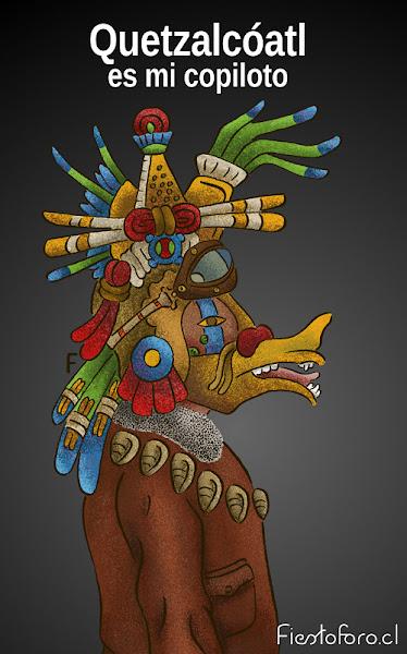 Una imagen de quetzalcoatl, una divinidad azteca que está vestida como piloto de aeroplano. Arriba se lee:«Quetzalcoatl es mi copiloto»