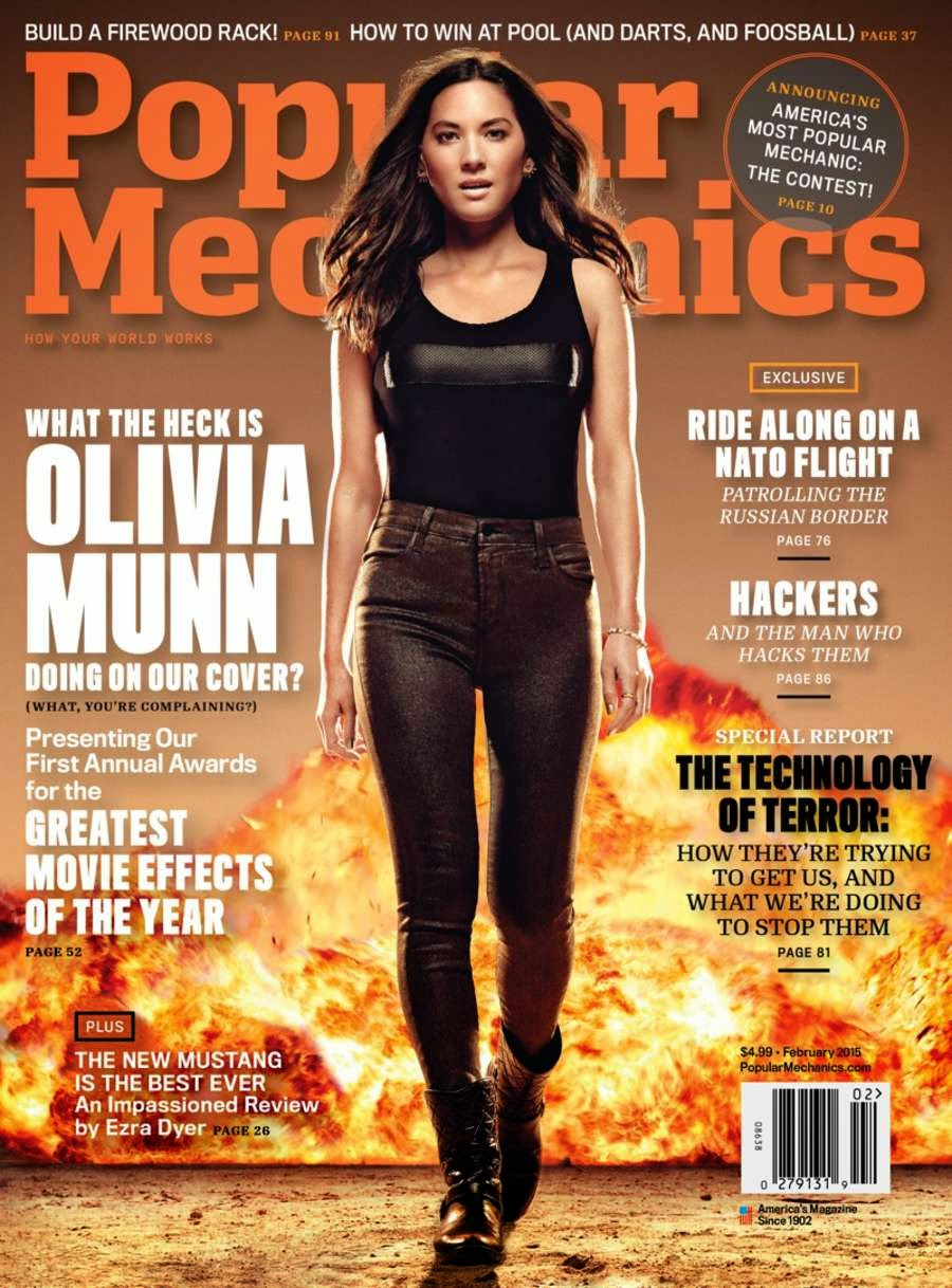 Olivia Munn features as the cover star of 'Popular Mechanics' February 2015 Magazine