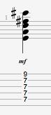 E13sus4 guitar chord