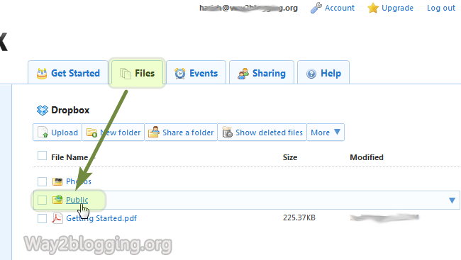 Upload/Host your Files via DropBox Online - Step1