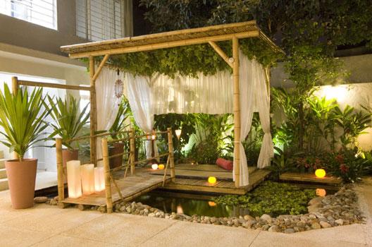 decoracao jardim bambu:Bambushow: O charme da decoração da casa de praia