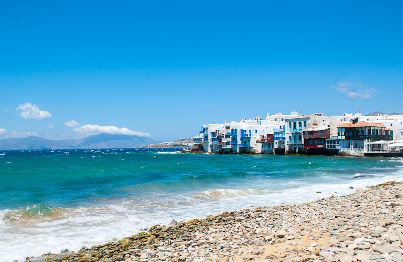 image of little venice and the sea in mykonos town