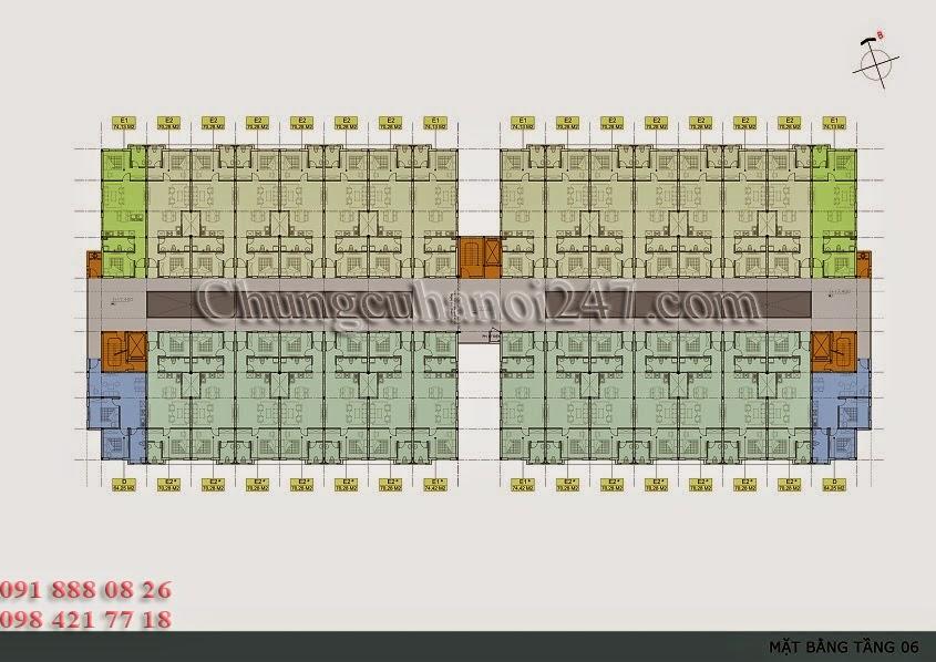 mặt bằng thiết kế tầng 6 chung cư thanh hà cienco 5 hà đông
