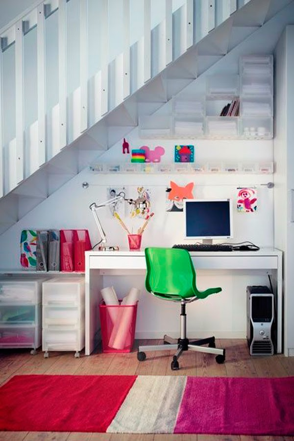 Office nook under the stairs