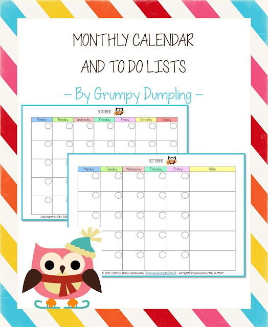 https://www.teacherspayteachers.com/Product/Monthly-Calendar-and-To-Do-Lists-2057097