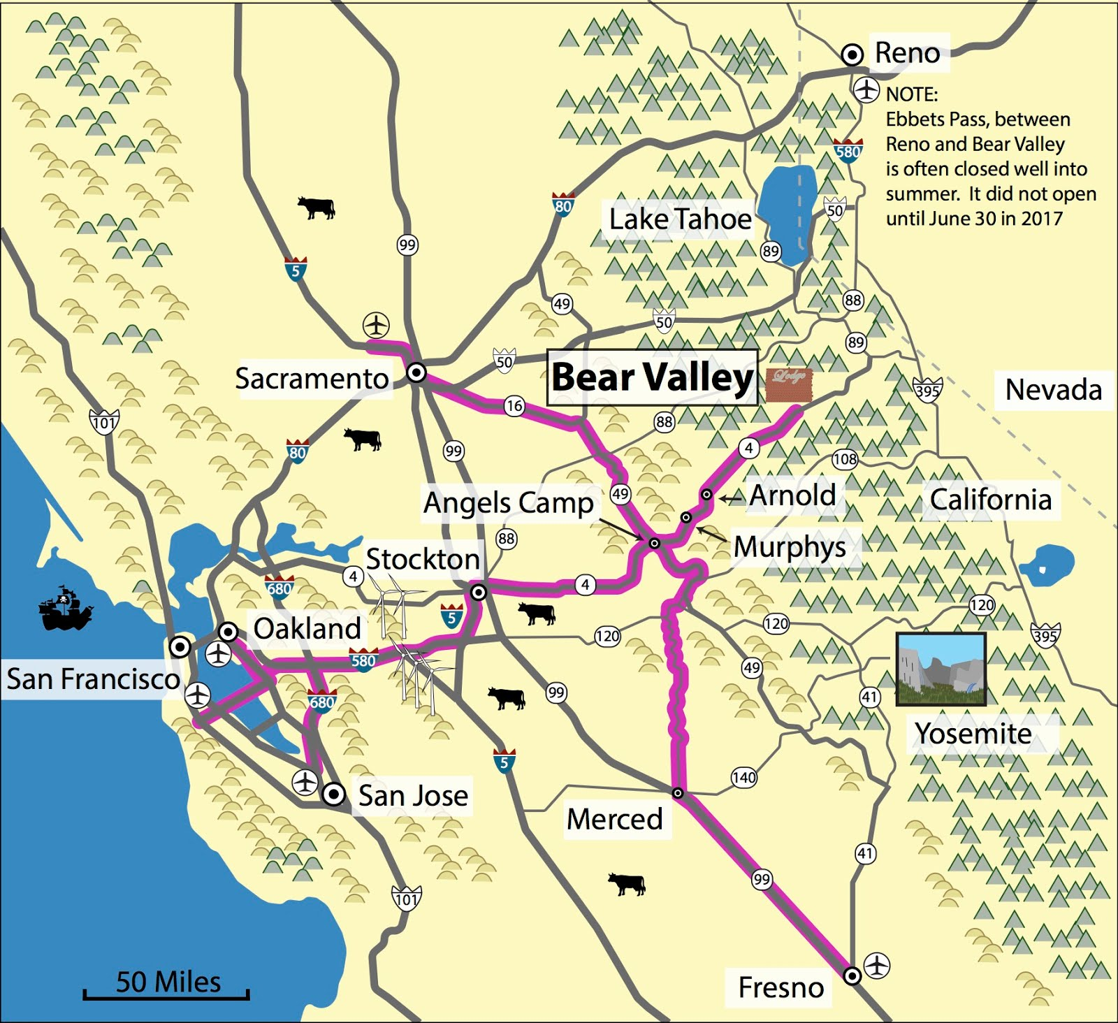 suggested routes to bear valley