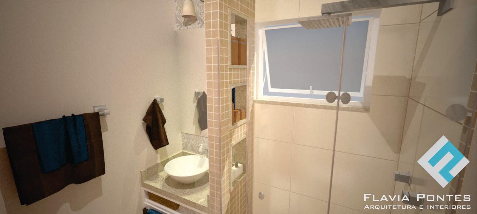Flavia Pontes Arquitetura Fevereiro 2015 -> Banheiro Pequeno Creme
