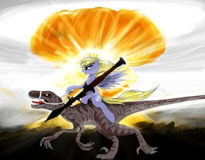 Ditsy Doo Rides a Velociraptor