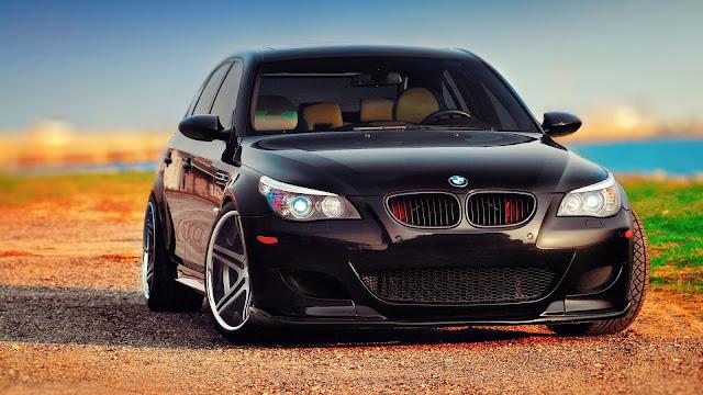 BMW M5 E60 black car front view HD Wallpaper