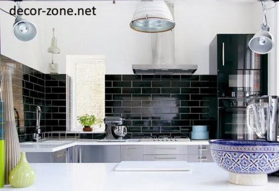 20 kitchen backsplash tile ideas in metro style - White kitchen with black tiles ...