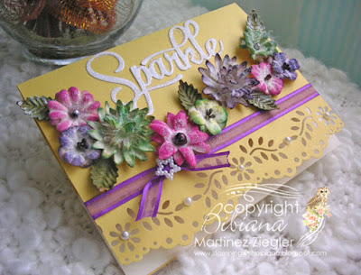 card with painted flowers with panpastels and glitter side view