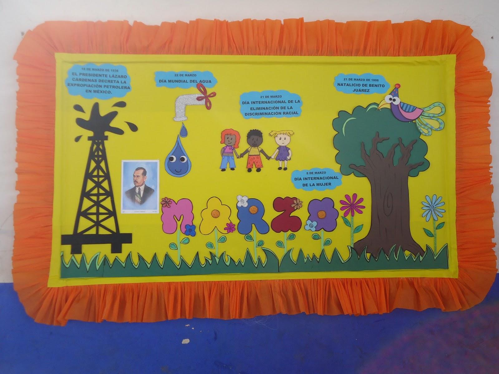 Maestroscomot peri dico mural marzo for Amenidades para periodico mural