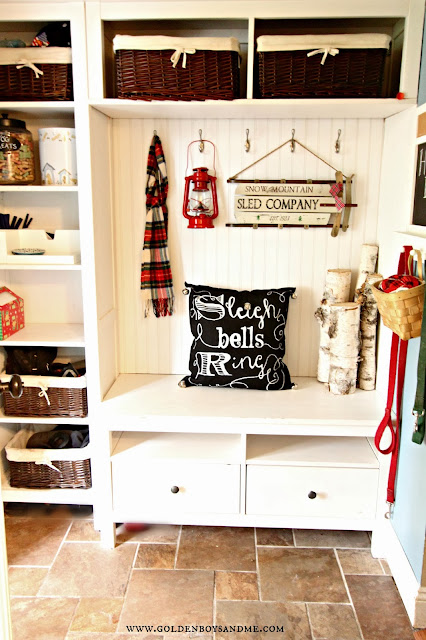 christmas mudroom with DIY chalkboard writing pillow.  www.goldenboysandme.com