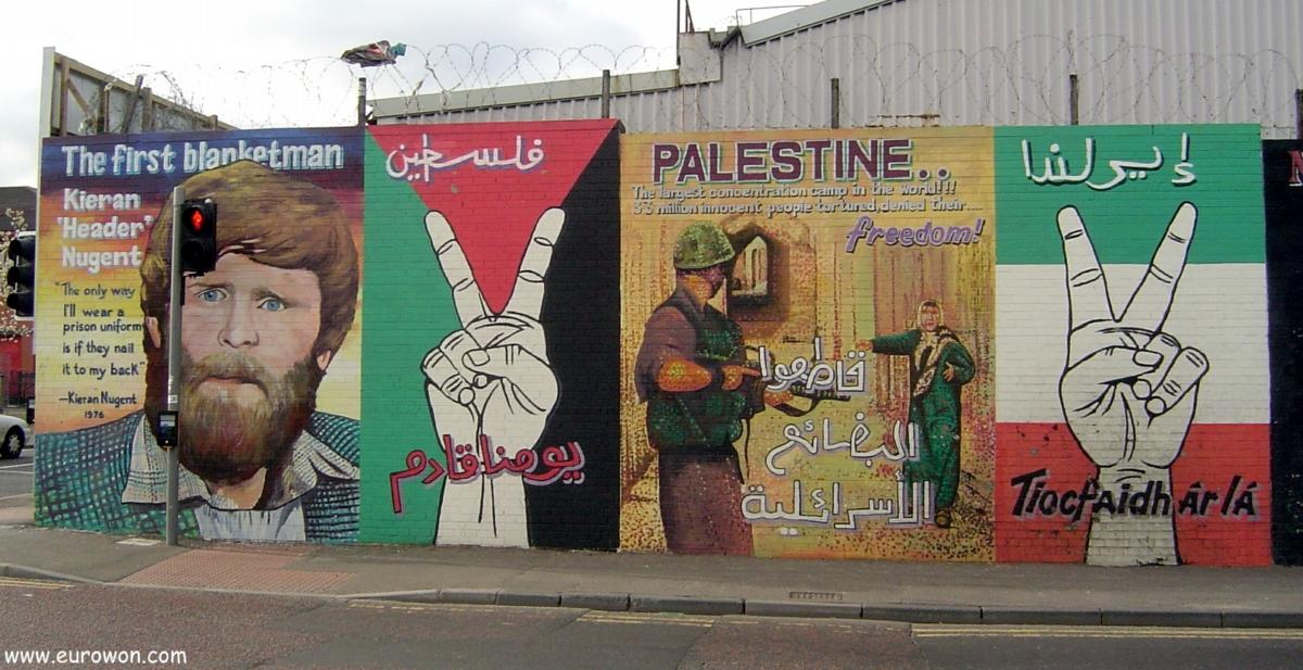Mural a favor de Palestina en Irlanda del Norte