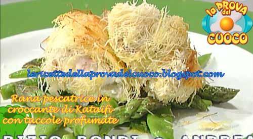 Rana pescatrice in croccante di kataifi con taccole for Cucinare rana pescatrice
