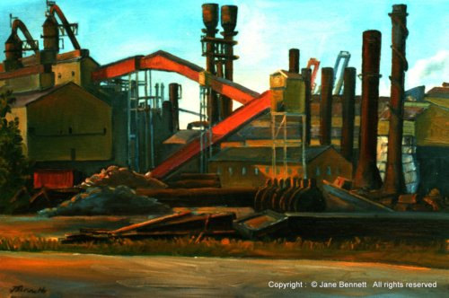plein air oil painting of  the BHP Steelworks by industrial heritage artist Jane Bennett