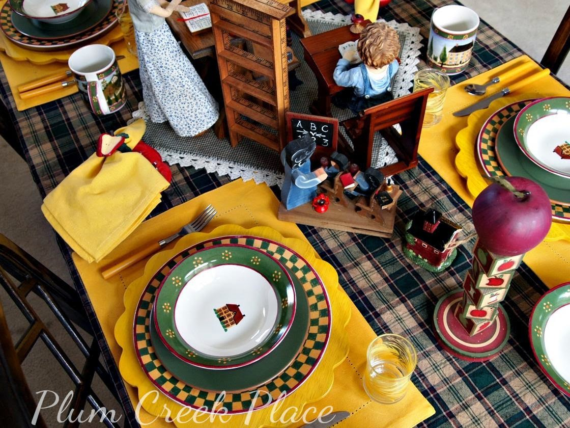 Back to school table, tablescape, apples, Block Country Village, plaid