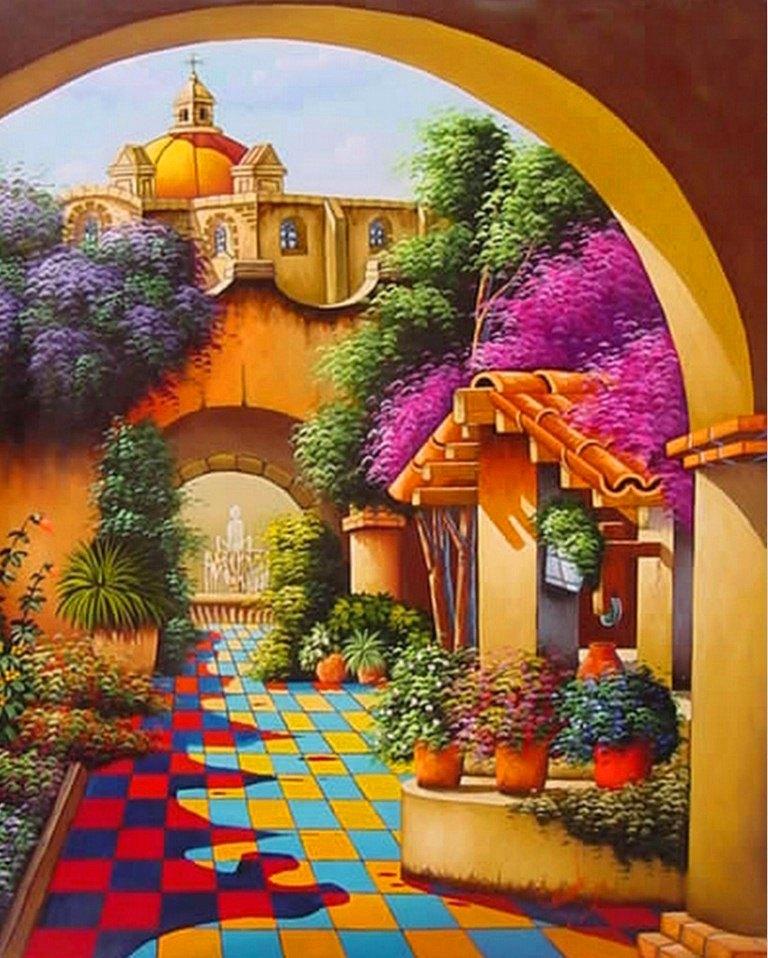 Im genes arte pinturas oleos paisajes coloridos for Cuadros para el jardin