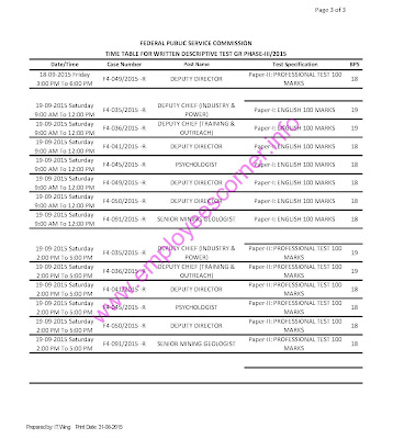 announced written test schedule for various FPSc posts