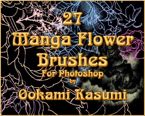 http://ookamikasumi.deviantart.com/art/27-Manga-Flower-Brushes-151825655