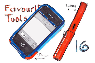 EDM 16 - My Favourite Tools - iPhone and Lamy Fountain Pen - Pen and Ink with Watercolour by Ana Tirolese ©2012