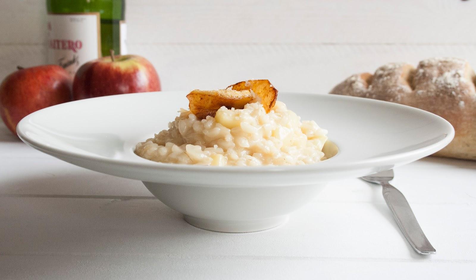Risotto de manzanas a la sidra. Uniendo lo mejor de cada país