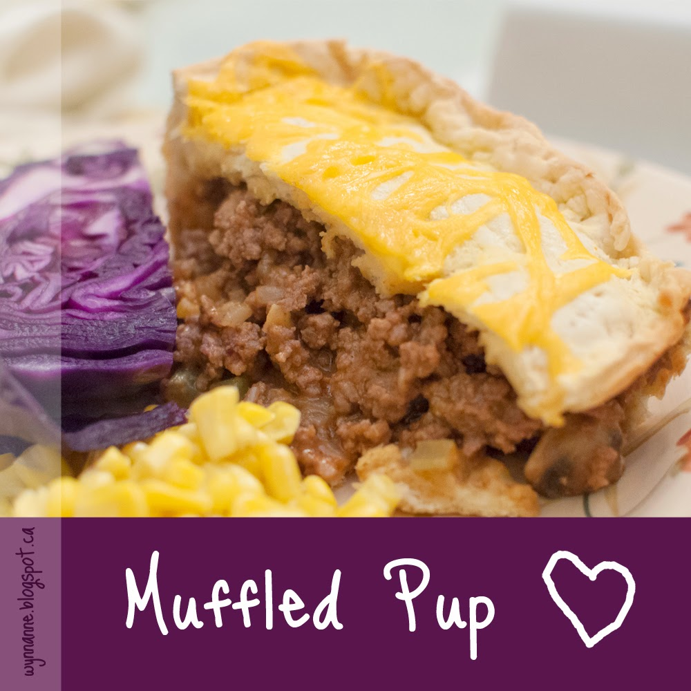 Muffled Pup is a ground-beef meat pie baked in a biscuit crust.