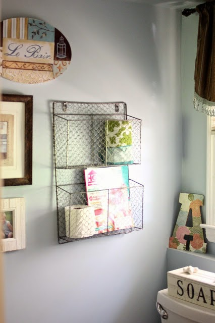 Wire basket for storage in powered room-www.goldenboysandme.com