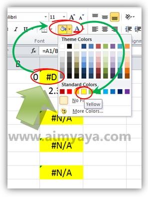 Gambar: Menggunakan latar kuning untuk menandai sel yang error yang ditemukan di Microsoft Excel