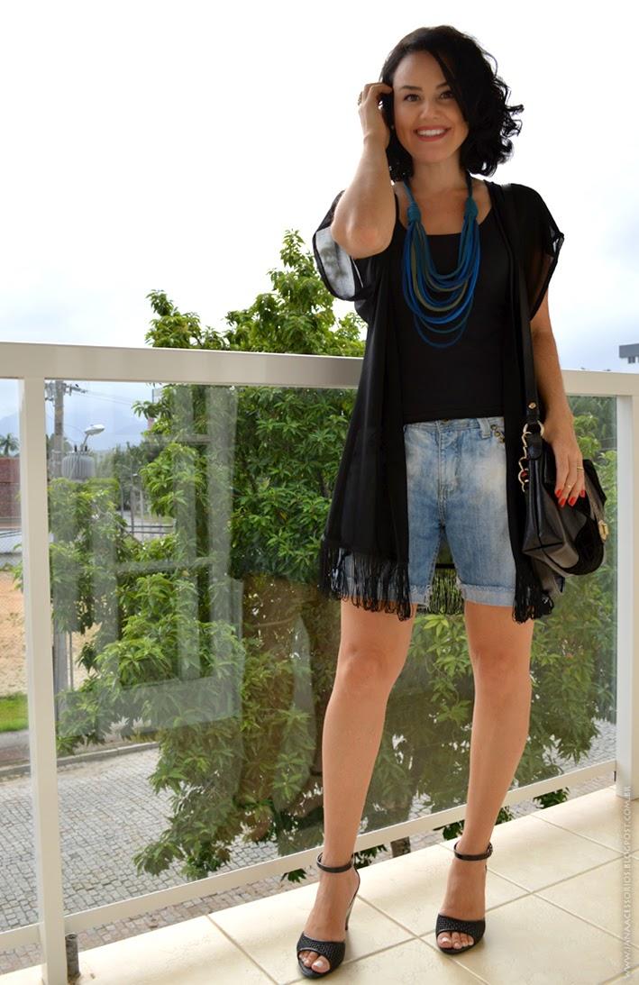 Blogueira de Joinville, blog da Jana, blog de Joinville, blogger, Jana, Moda, estilo, quimono, bermuda, jeans, colar, anel, malha, handmade, Look da Jana - Quimono