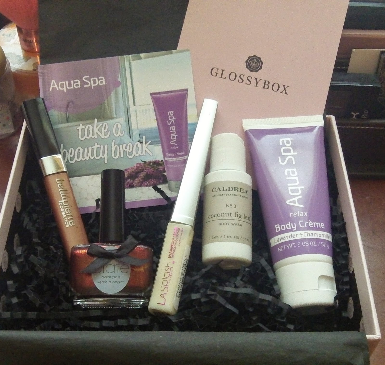 bellapierre gloss, ciate polish, la splash primer, caldrea body wash, aqua spa body creme