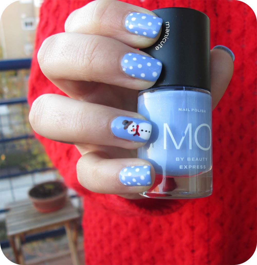 ManiCute | Nail art blog: Muñeco de nieve - Manicura navideña