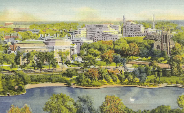 Lake at Wade Park, Severance Hall, Lakeside Hospital #vintage #cleveland #ohio