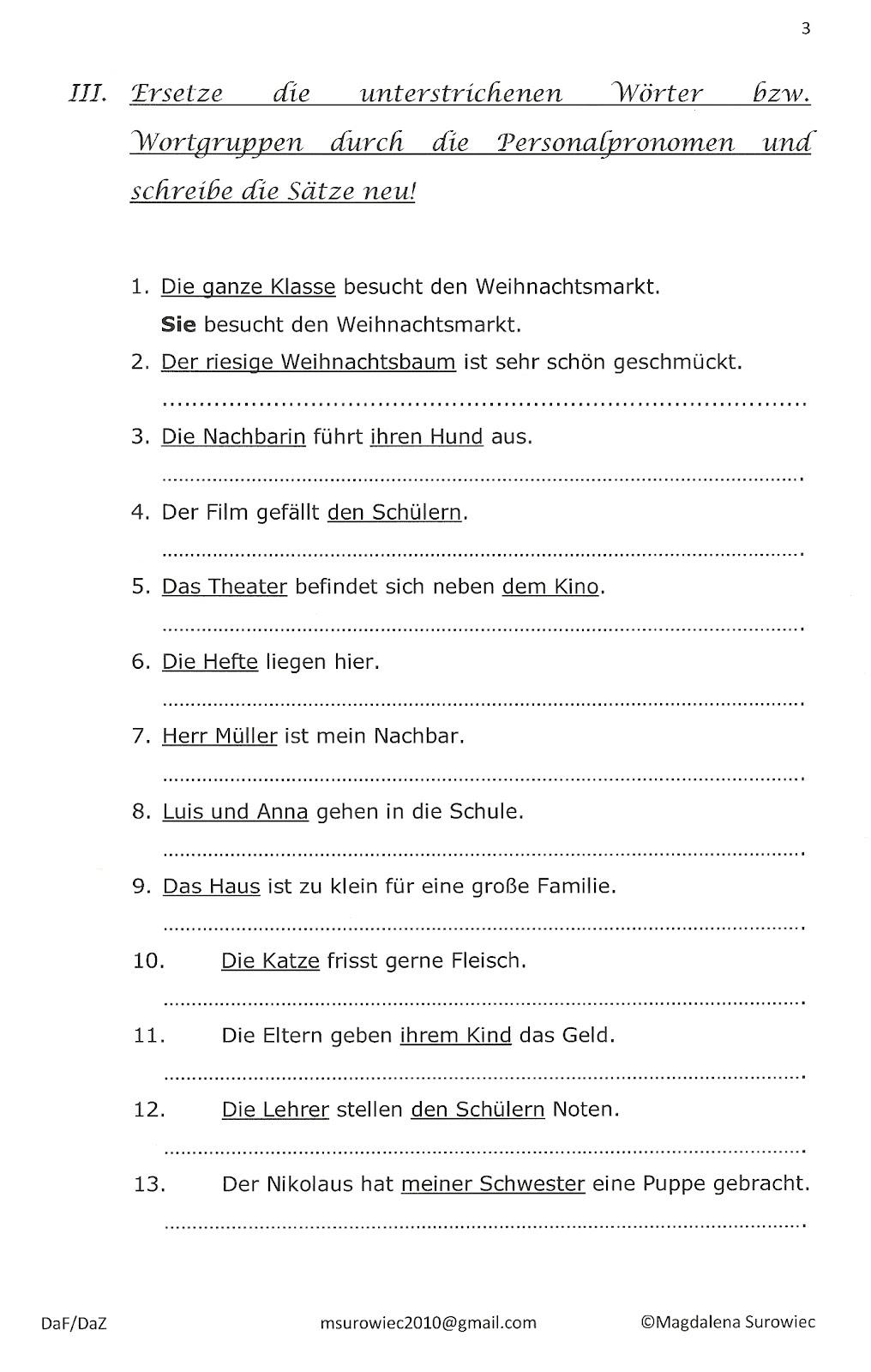 Pronomen Deutsch Ubungen Zeichnung