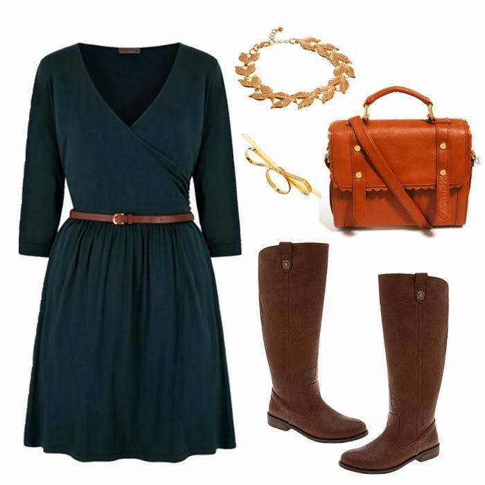 Dark blue dress, brown handbag and long boots for fall