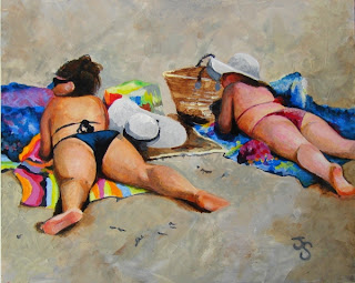 painting girls and beach